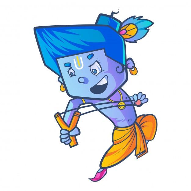 cartoon illustration of little krishna with slingshot vector