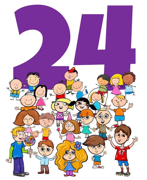 面白い子供たちの文字グループの数24の漫画イラスト Premiumベクター