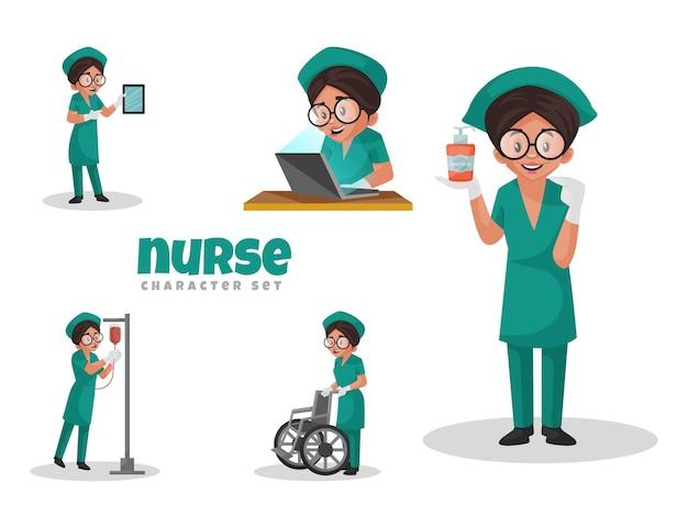 Иллюстрации шаржа медсестра набор символов Premium векторы