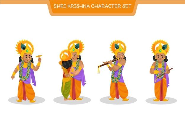 Shri Krishna 문자 집합의 만화 그림 프리미엄 벡터