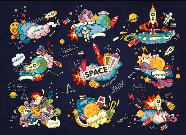 Мультфильм иллюстрация пространства. луна, планета, ракета, земля, космонавт, комета, вселенная. Premium векторы