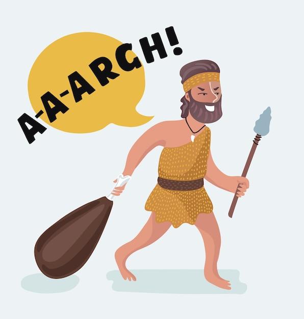 石器時代の男の肉の平和の漫画イラスト。 Premiumベクター