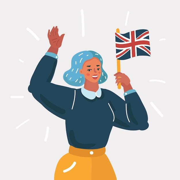 Иллюстрации шаржа изучения английского языка или путешествий. красивая девушка с британским флагом, махающим вам. человеческий характер на белом фоне. Premium векторы