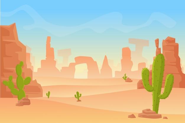 テキサス西部またはメキシコの砂漠のシルエットの漫画イラスト。山と乾燥した砂漠のサボテンの野生の西アメリカ西部のシーン。 Premiumベクター