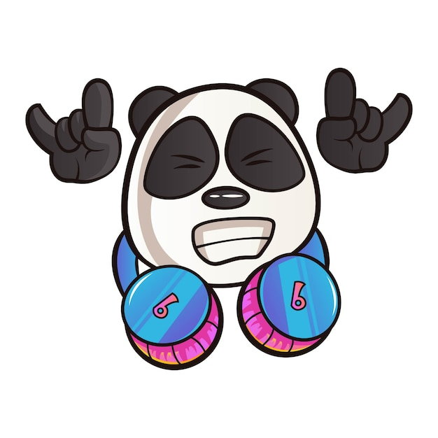 Cartoon illustration of panda. Premium Vector
