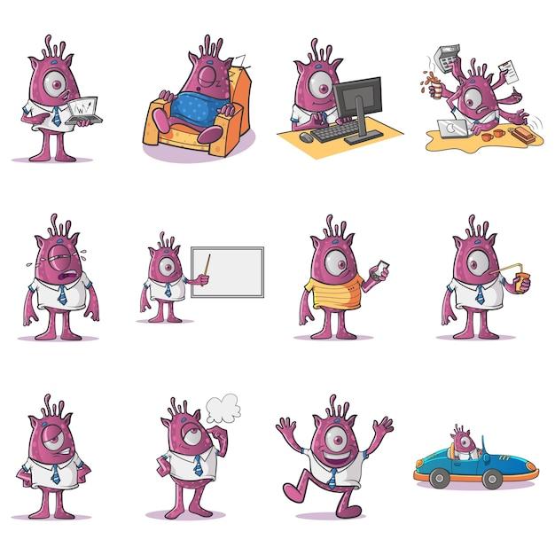 Cartoon illustration professional monster set Premium Vector