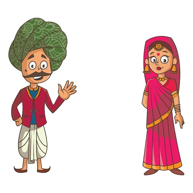 Cartoon illustration of rajasthani couple. Premium Vector