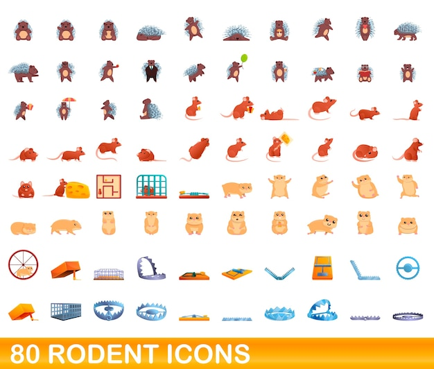 Cartoon illustration of rodent icons set isolated on white Premium Vector