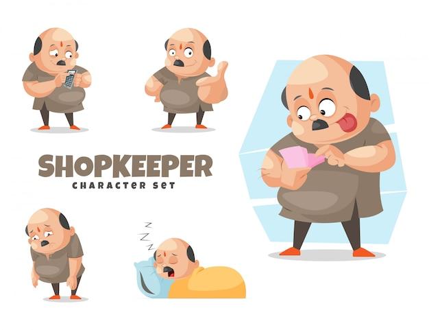 Cartoon illustration of shopkeeper character set Premium Vector