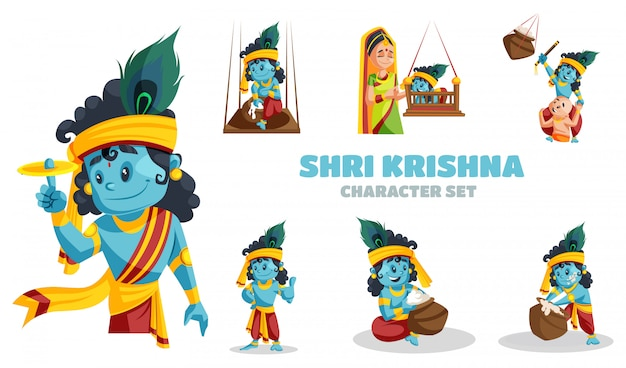 Cartoon illustration of shri krishna character set Premium Vector