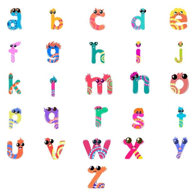 Cartoon illustration of small alphabet set. Premium Vector