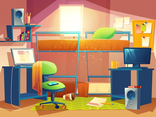 Cartoon illustration of small dorm room, dormitory interior inside, hostel bedroom Free Vector
