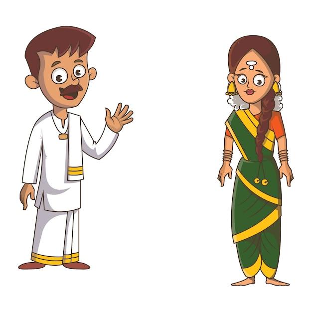 Cartoon illustration of tamil nadu couple. Premium Vector
