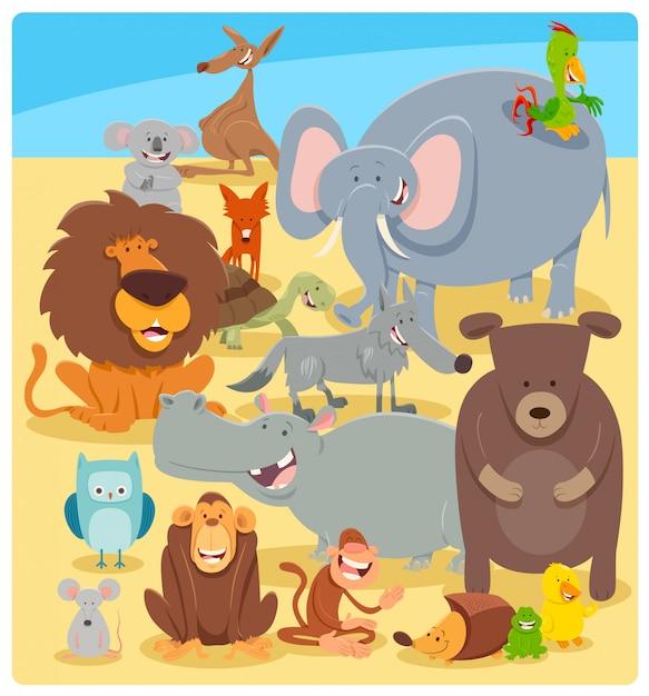 Cartoon illustration of wild animal characters Premium Vector