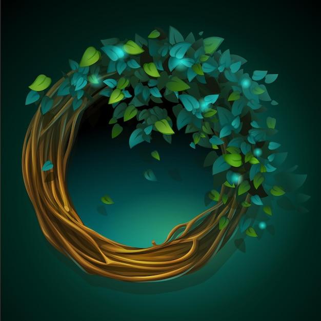 緑の背景にブドウの木と葉の漫画イラスト花輪 Premiumベクター
