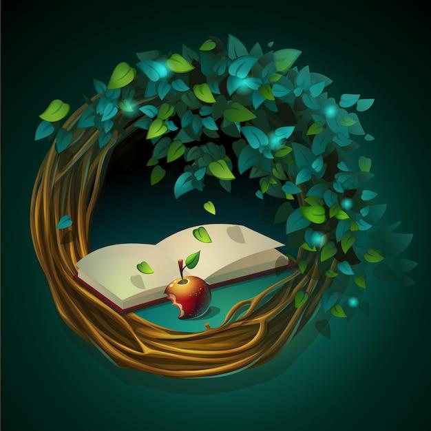 緑の背景に本とリンゴとブドウの木と葉の漫画イラスト花輪 Premiumベクター
