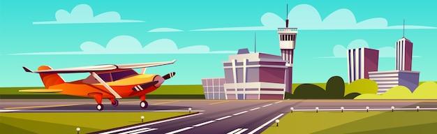 Cartoon illustration, yellow light aircraft on runway. takeoff or landing of airplane Free Vector