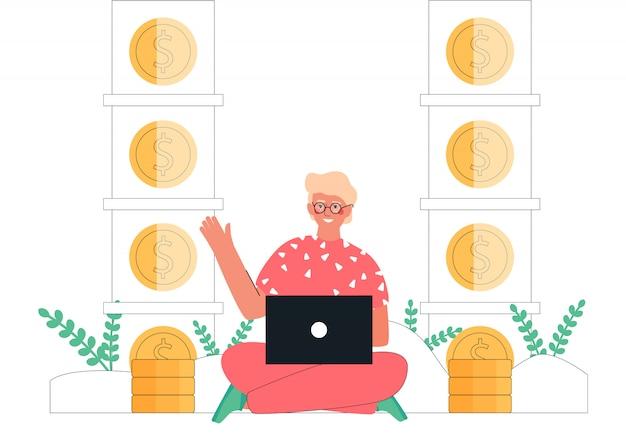 Карикатура иллюстрации молодой человек сидел с ноутбуком, зарабатывать деньги в интернете рядом с стеки золотых монет. пассивный доход, инвестиции, финансовые сбережения, фриланс, удаленная работа для баннера. Premium векторы