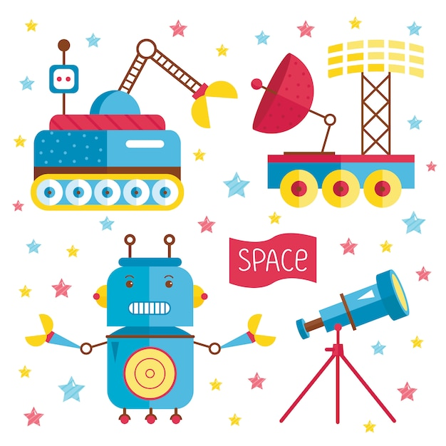 Cartoon illustrations about space. Premium Vector