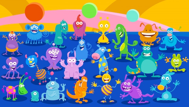 Cartoon illustrations of monsters fantasy background Premium Vector
