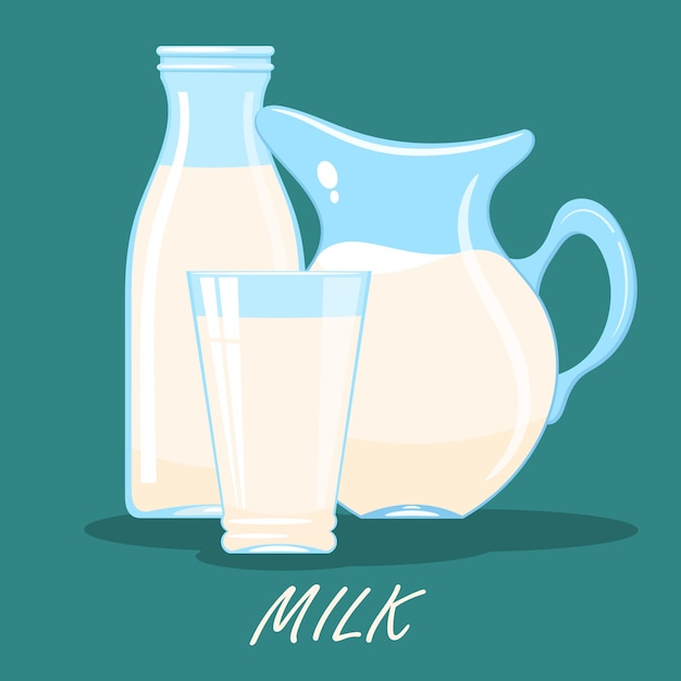 Cartoon image of a jug, a glass and a bottle of milk Premium Vector