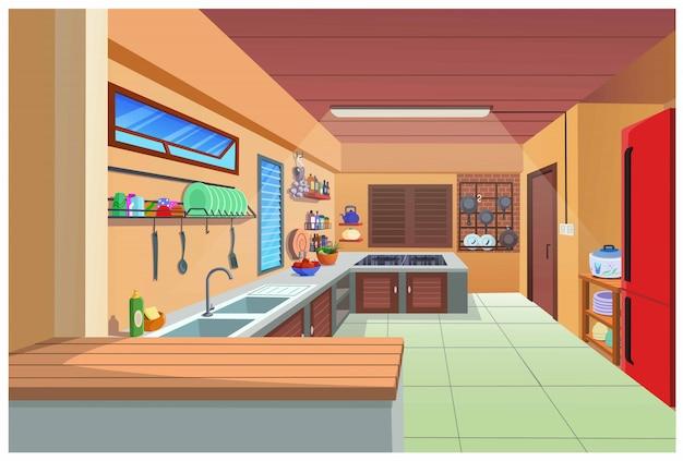 Мультфильм изображение кухни для приготовления пищи. Premium векторы