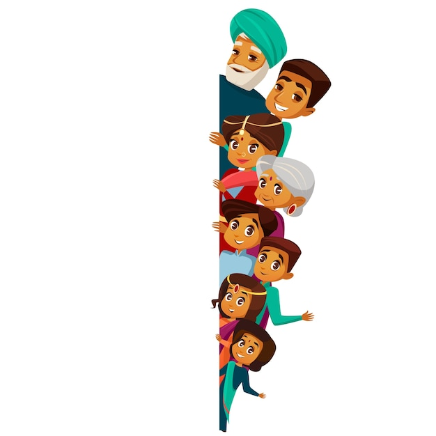 Cartoon indian family characters peeping from behind empty blank space. Premium Vector
