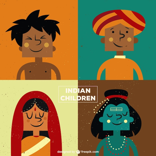 cartoon indian kids illustration free vector - Download Free Kids Cartoon