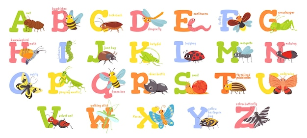 Cartoon insects alphabet Free Vector