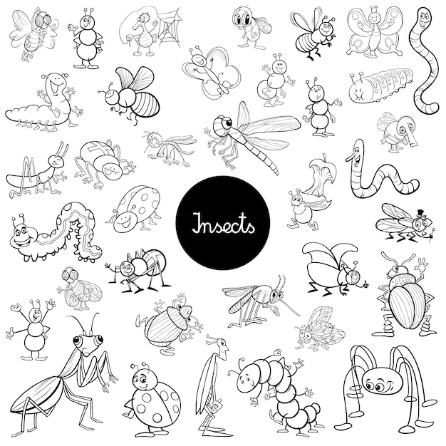 Cartoon Insects Animals Set Coloring Book Premium Vector