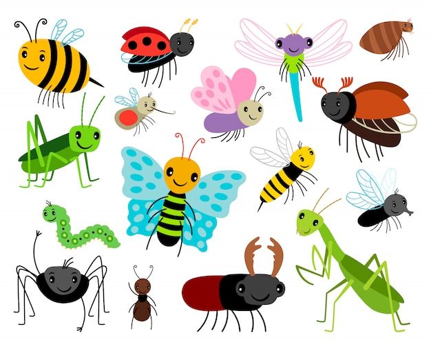 Cartoon insects Premium Vector