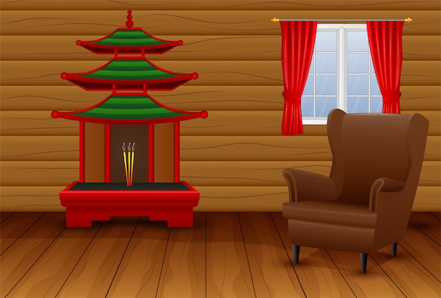 Cartoon Interior Of The Chinese Living Room Vector | Premium ...