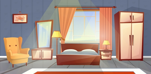 Cartoon interior of cozy bedroom with window. living apartment with furniture Free Vector