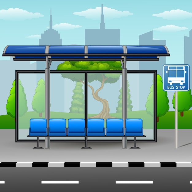 Cartoon Is A City Bus Stop Premium Vector