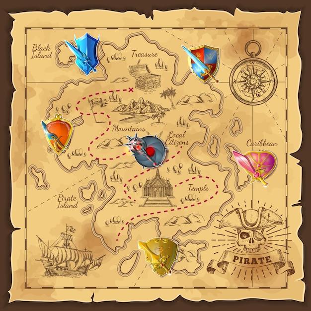 Cartoon island map Premium Vector