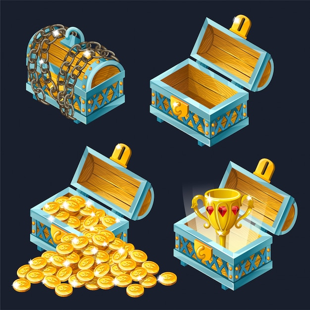 Cartoon isometric chests icon with treasures. Free Vector