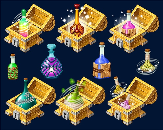 Cartoon isometric chests with elixirs. Premium Vector