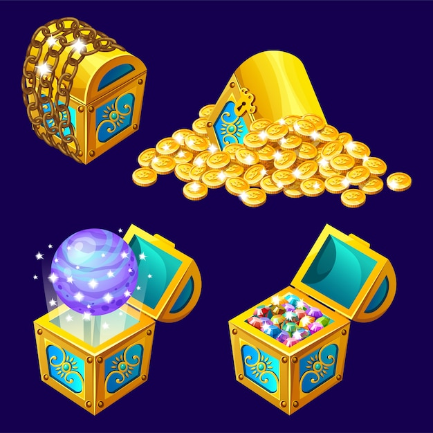 Cartoon isometric chests with treasures. Free Vector