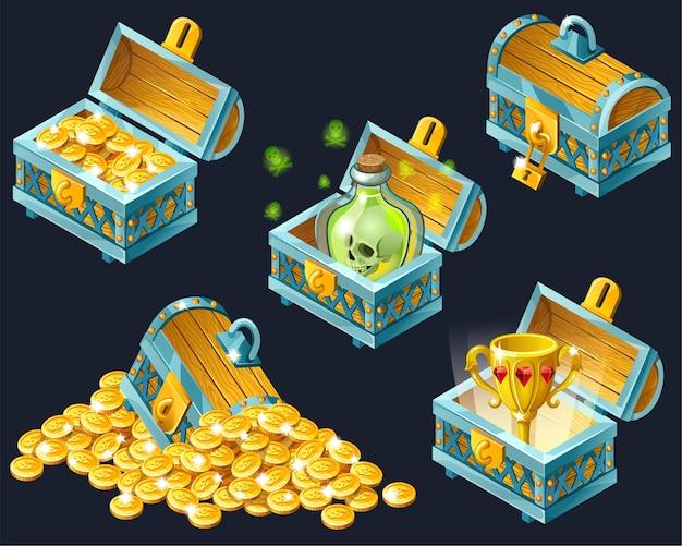 Cartoon isometric chests with treasures. Premium Vector
