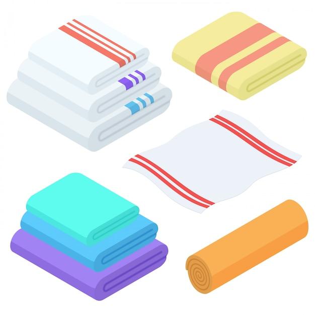 Cartoon isometric towels   set. cloth folded towel for bath. Premium Vector