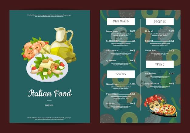 Мультфильм итальянская кухня кафе или ресторан меню Premium векторы
