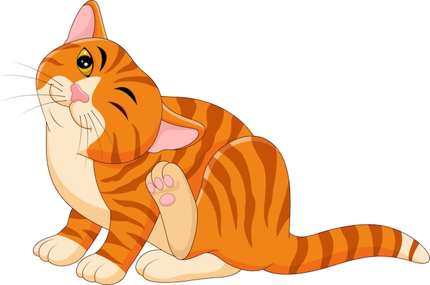 Cartoon itchy cat scratching | Premium Vector
