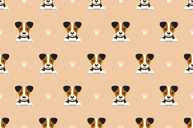 Cartoon jack russell terrier dog seamless pattern Premium Vector