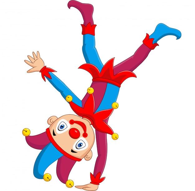 Cartoon jester standing upside down Premium Vector