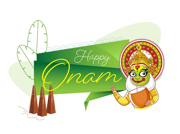 Cartoon kathakali dancer drinking coconut water with showing happy onam ribbon, line art banana leaves and thrikkakara appan idol on white background. Premium Vector