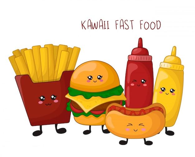 Cartoon kawaii fast food - hamburger, french fries, hot dog Premium Vector