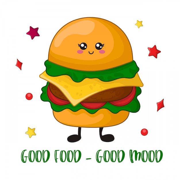 Cartoon kawaii fast food Premium Vector