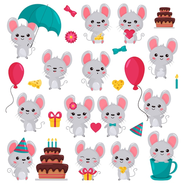 Cartoon kawaii mouse characters set in different situations Premium Vector