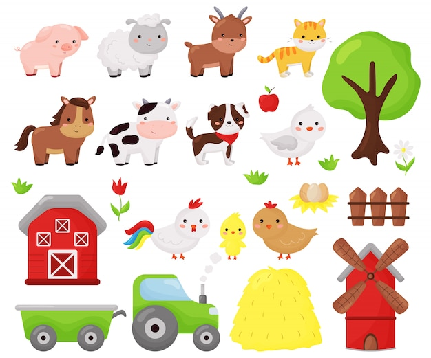 Cartoon kawaii vector set of farm animals: sheep, cow, dog, cat, horse, goat and chicken. farm objects, barn and windmill. illustration for kids. Premium Vector