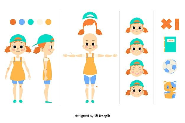 Cartoon kid for motion design Free Vector